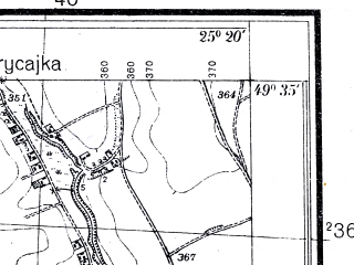 Reduced fragment of topographic map pl--wig--025k--P50S40-I--(1937)--N049-35_E025-10--N049-30_E025-20; towns and cities Budilov, Taurov
