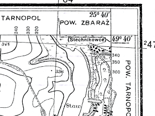 Reduced fragment of topographic map pl--wig--025k--P50S41-E--(1934)--N049-40_E025-30--N049-35_E025-40; towns and cities Velikiy Glubochek