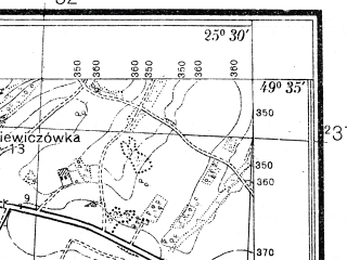 Reduced fragment of topographic map pl--wig--025k--P50S41-G--(1937)--N049-35_E025-20--N049-30_E025-30; towns and cities Dolzhanka, Kozlov, Velikiy Khodachkov