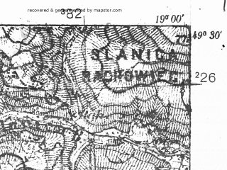 Reduced fragment of topographic map pl--wig--025k--P51S28-A--(1928)--N049-30_E018-50--N049-25_E019-00
