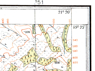 Reduced fragment of topographic map pl--wig--025k--P51S32-F--(1933)--N049-25_E021-10--N049-20_E021-20