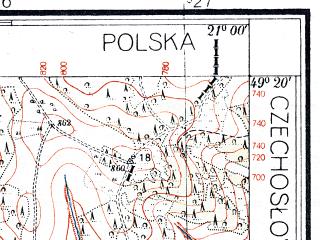 Reduced fragment of topographic map pl--wig--025k--P51S32-G--(1935)--N049-20_E020-50--N049-15_E021-00