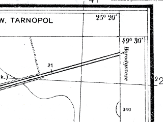 Reduced fragment of topographic map pl--wig--025k--P51S40-C--(1937)--N049-30_E025-10--N049-25_E025-20; towns and cities Denisov