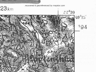 Reduced fragment of topographic map pl--wig--025k--P52S34-C--(1938)--N049-15_E022-10--N049-10_E022-20