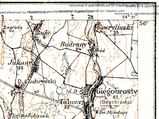 Reduced fragment of topographic map pl--wig--100k--P25S38--(1936)--N056-00_E023-50--N055-45_E024-20; towns and cities Pakruois, Smilgiai