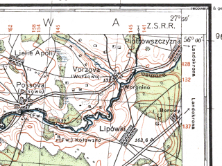 Reduced fragment of topographic map pl--wig--100k--P25S45--(1932)--N056-00_E027-20--N055-45_E027-50; towns and cities Bigosovo