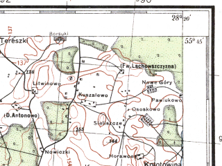 Reduced fragment of topographic map pl--wig--100k--P26S46--(1932)--N055-45_E027-50--N055-30_E028-20; towns and cities Disna