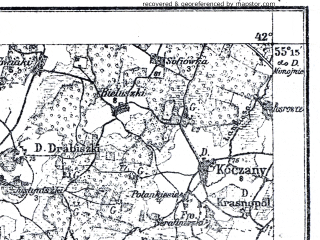Reduced fragment of topographic map pl--wig--100k--P28S38--(1922)--N055-15_E023-50--N055-00_E024-20; towns and cities Ionava