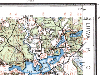 Reduced fragment of topographic map pl--wig--100k--P28S41--(1932)--N055-15_E025-20--N055-00_E025-50; towns and cities Moletay