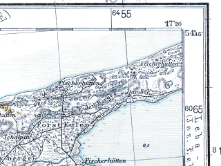 Reduced fragment of topographic map pl--wig--100k--P30S24--(1935)--N054-45_E016-50--N054-30_E017-20; towns and cities Ustka, Smoldzino