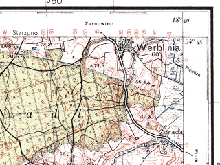 Reduced fragment of topographic map pl--wig--100k--P30S26--(1937)--N054-45_E017-50--N054-30_E018-20; towns and cities Wejherowo, Gniewino