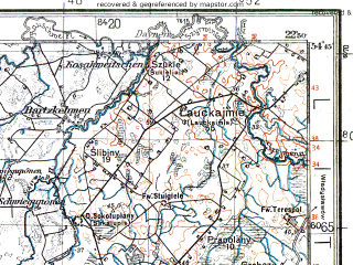 Reduced fragment of topographic map pl--wig--100k--P30S35--(1932)--N054-45_E022-20--N054-30_E022-50; towns and cities Kibartay, Chernyshevskoye, Nesterov, Virbalis