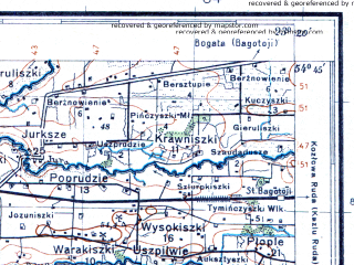 Reduced fragment of topographic map pl--wig--100k--P30S36--(1932)--N054-45_E022-50--N054-30_E023-20; towns and cities Kapsukas, Vilkavishkis