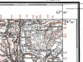 Reduced fragment of topographic map pl--wig--100k--P30S40--(1927)--N054-45_E024-50--N054-30_E025-20; towns and cities Vilnius, Baltoyi-voke, Grigishkes, Lentvaris