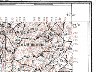 Reduced fragment of topographic map pl--wig--100k--P30S41--(1927)--N054-45_E025-20--N054-30_E025-50