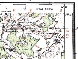 Reduced fragment of topographic map pl--wig--100k--P30S45--(1933)--N054-45_E027-20--N054-30_E027-50; towns and cities Dolginovo