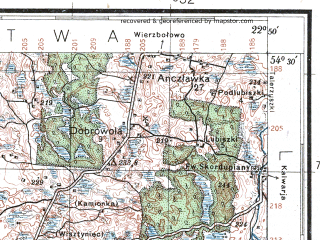 Reduced fragment of topographic map pl--wig--100k--P31S35--(1931)--N054-30_E022-20--N054-15_E022-50; towns and cities Nevskoye