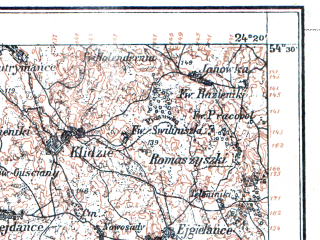 Reduced fragment of topographic map pl--wig--100k--P31S38--(1928)--N054-30_E023-50--N054-15_E024-20; towns and cities Alitus, Daugay, Nemunaytis