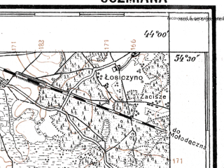 Reduced fragment of topographic map pl--wig--100k--P31S42--(1927)--N054-30_E025-50--N054-15_E026-20; towns and cities Oshmyany, Krevo