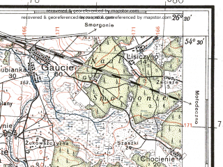 Reduced fragment of topographic map pl--wig--100k--P31S42--(1935)--N054-30_E025-50--N054-15_E026-20; towns and cities Oshmyany, Krevo