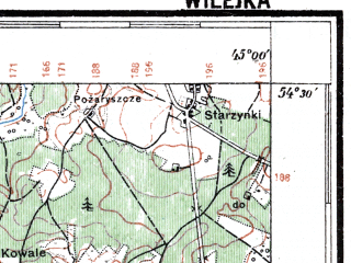Reduced fragment of topographic map pl--wig--100k--P31S44--(1926)--N054-30_E026-50--N054-15_E027-20; towns and cities Molodechno