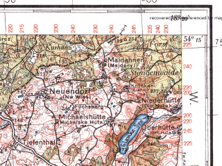 Reduced fragment of topographic map pl--wig--100k--P32S26--(1936)--N054-15_E017-50--N054-00_E018-20; towns and cities Koscierzyna