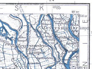 Reduced fragment of topographic map pl--wig--100k--P32S28--(1931)--N054-15_E018-50--N054-00_E019-20; towns and cities Malbork, Nowy Dwor Gdanski
