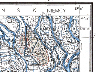 Reduced fragment of topographic map pl--wig--100k--P32S28--(1937)--N054-15_E018-50--N054-00_E019-20; towns and cities Malbork, Nowy Dwor Gdanski