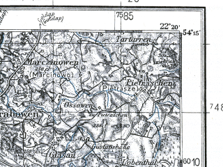 Reduced fragment of topographic map pl--wig--100k--P32S34--(1932)--N054-15_E021-50--N054-00_E022-20; towns and cities Pozezdrze