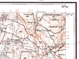 Reduced fragment of topographic map pl--wig--100k--P32S35--(1931)--N054-15_E022-20--N054-00_E022-50; towns and cities Olecko, Rudzie