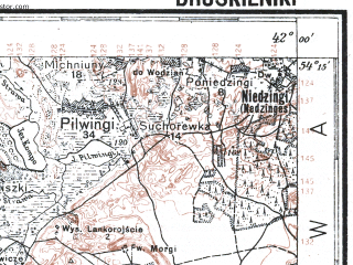 Reduced fragment of topographic map pl--wig--100k--P32S38--(1928)--N054-15_E023-50--N054-00_E024-20; towns and cities Druskininkay, Myarkine