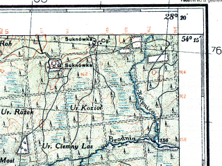 Reduced fragment of topographic map pl--wig--100k--P32S46--(1933)--N054-15_E027-50--N054-00_E028-20; towns and cities Logoysk, Smolevichi