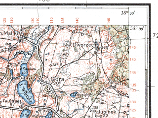 Reduced fragment of topographic map pl--wig--100k--P33S26--(1934)--N054-00_E017-50--N053-45_E018-20; towns and cities Czersk