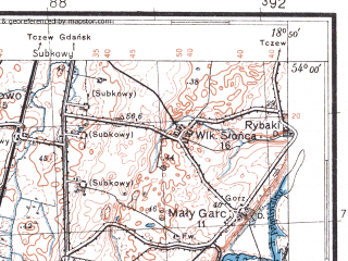 Reduced fragment of topographic map pl--wig--100k--P33S27--(1932)--N054-00_E018-20--N053-45_E018-50; towns and cities Starogard Gdanski, Pelplin, Skorcz, Zblewo