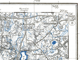 Reduced fragment of topographic map pl--wig--100k--P33S30--(1931)--N054-00_E019-50--N053-45_E020-20; towns and cities Morag