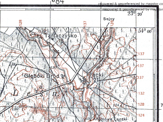 Reduced fragment of topographic map pl--wig--100k--P33S36--(1929)--N054-00_E022-50--N053-45_E023-20; towns and cities Augustow