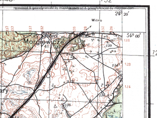 Reduced fragment of topographic map pl--wig--100k--P33S38--(1927)--N054-00_E023-50--N053-45_E024-20; towns and cities Gozha, Porech'ye