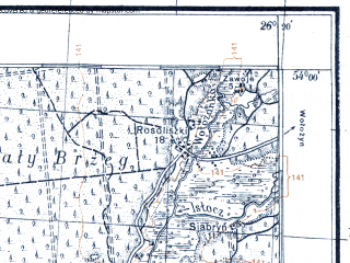 Reduced fragment of topographic map pl--wig--100k--P33S42--(1926)--N054-00_E025-50--N053-45_E026-20; towns and cities Bakshty
