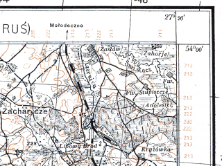 Reduced fragment of topographic map pl--wig--100k--P33S44--(1926)--N054-00_E026-50--N053-45_E027-20; towns and cities Rakov