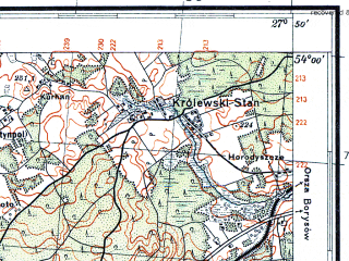 Reduced fragment of topographic map pl--wig--100k--P33S45--(1933)--N054-00_E027-20--N053-45_E027-50; towns and cities Minsk, Ratomka, Machulishche