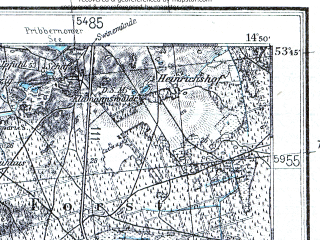 Reduced fragment of topographic map pl--wig--100k--P34S19--(1936)--N053-45_E014-20--N053-30_E014-50; towns and cities Police, Goleniow, Stepnica