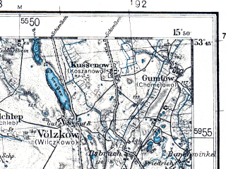 Reduced fragment of topographic map pl--wig--100k--P34S21--(1936)--N053-45_E015-20--N053-30_E015-50; towns and cities Drawsko Pomorskie, Lobez, Wegorzyno