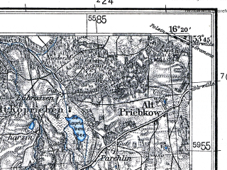 Reduced fragment of topographic map pl--wig--100k--P34S22--(1935)--N053-45_E015-50--N053-30_E016-20; towns and cities Zlocieniec, Czaplinek