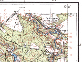 Reduced fragment of topographic map pl--wig--100k--P34S25--(1936)--N053-45_E017-20--N053-30_E017-50; towns and cities Chojnice, Czluchow