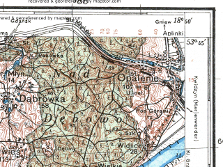 Reduced fragment of topographic map pl--wig--100k--P34S27--(1932)--N053-45_E018-20--N053-30_E018-50; towns and cities Nowe, Osie