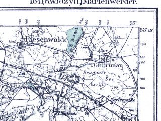 Reduced fragment of topographic map pl--wig--100k--P34S28--(1921)--N053-45_E018-50--N053-30_E019-20; towns and cities Kwidzyn, Lasin