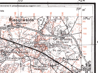 Reduced fragment of topographic map pl--wig--100k--P34S28--(1937)--N053-45_E018-50--N053-30_E019-20; towns and cities Kwidzyn, Lasin