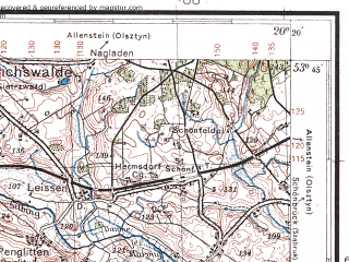 Reduced fragment of topographic map pl--wig--100k--P34S30--(1932)--N053-45_E019-50--N053-30_E020-20; towns and cities Olsztynek, Ostroda