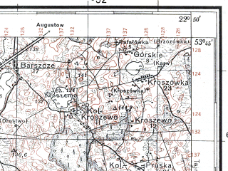 Reduced fragment of topographic map pl--wig--100k--P34S35--(1929)--N053-45_E022-20--N053-30_E022-50; towns and cities Grajewo