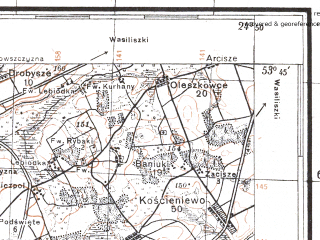 Reduced fragment of topographic map pl--wig--100k--P34S39--(1927)--N053-45_E024-20--N053-30_E024-50; towns and cities Shchuchin, Ostryna